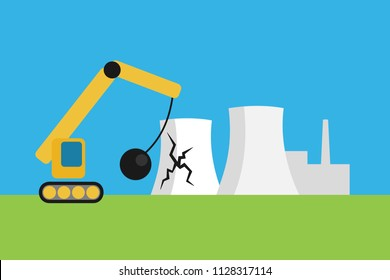 Nuclear power plant phase out - powerhouse for atomic energy is discontinued, closed, abandoned terminated. Demolition and destruction of factory. Vector illustration