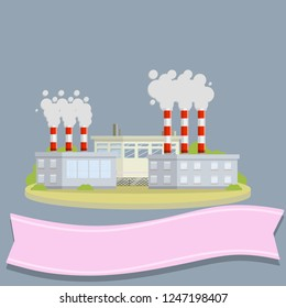 Nuclear power plant. Red pipes with smoke. Energy production and problem of ecology. Urban landscape. Engineer's place of work with pink ribbon for text. Industrial area of the city. Flat illustration