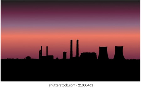 Nuclear Power Plant Silhouette Vector Illustration with a gradient pink maroon sky background.