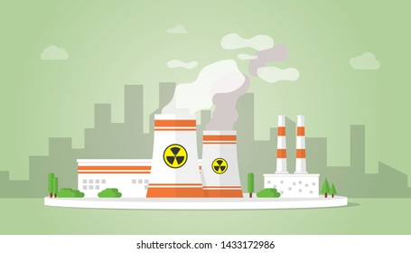 nuclear power plant technology resources alternative with big reactor building on the city area - vector