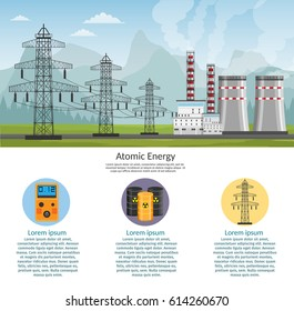 Nuclear power plant vector illustration for background infographics of atomic energy.