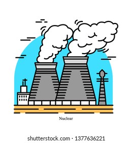 Nuclear power plant.Powerhouse or generating station. Industrial icon. Ecological sources of Electricity, Energy. Used in steam turbines. Technology fission, decay. Fission of uranium and plutonium.