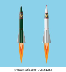 Nuclear rocket, Nuclear weapons. vector illustration