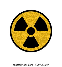 Nuclear sign of yellow color with black edging, warning of death. Icon isolated on a white background.