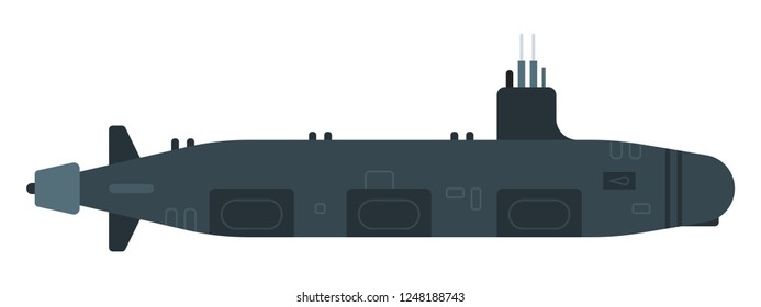 Nuclear submarine for the destruction of enemy ships and submarines vector flat icon isolated on white