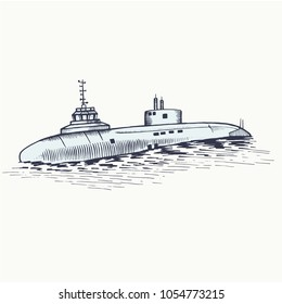 The nuclear submarine surfaced from the depths of the sea. Secret task. Vector illustration