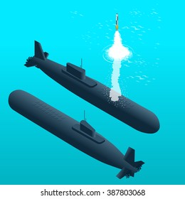 Nuclear submarine traveling underwater and rockets up. Flat 3d isometric vector illustration.