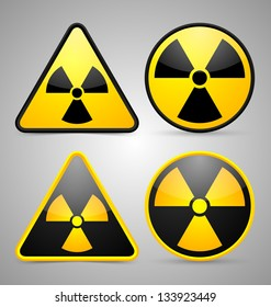 Nuclear symbols isolated on grey background