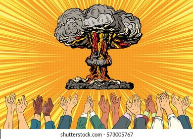 Nuclear war applause from the audience. Vintage pop art retro illustration