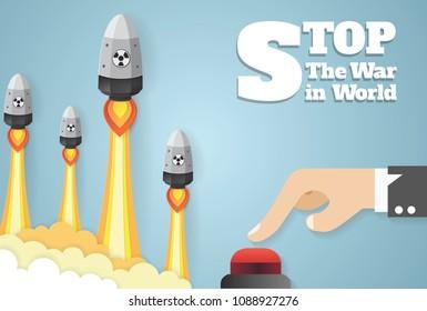 Nuclear war - atom bombs falling. hands pushing the start button.vector