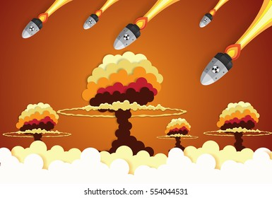 Nuclear war - atom bombs falling on the city,paper art style