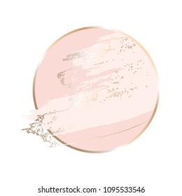 Nude brush strokes. Gold round contour frame.