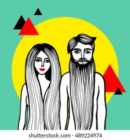 Nude Couple. Couple of lovers. Hand draw vector illustration of naked man with long beard and women with long hair and red lips colored geometric background. Adam and Eve hipsters.
