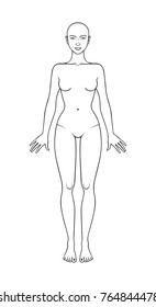 Nude female figure,standing in full growth, front view. Can be used as a template for the fashion flat sketches, fashion technical drawing. Vector illustration. Technical flat sketch.