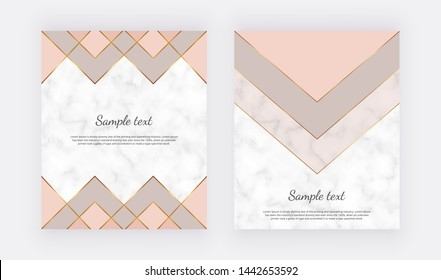 Nude geometric cards with golden lines and triangle shapes. Trendy templates, banner, flyer, poster, greeting, wedding invitation