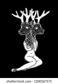 Nude women and a deer — pic 14