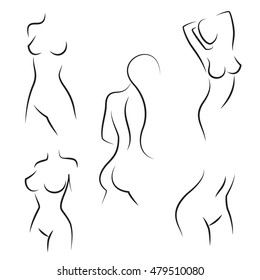 Nude woman silhouettes for hygiene, health and body care