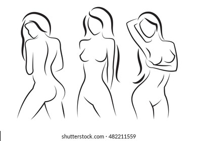 Nude woman vector silhouette. Beautiful sexy woman body figure drawings