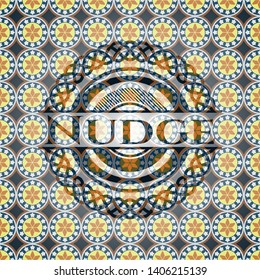 Nudge arabic emblem background. Arabesque decoration.