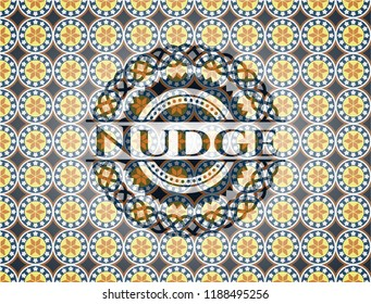 Nudge arabic style badge. Arabesque decoration.