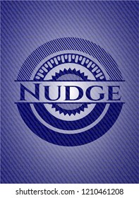 Nudge badge with denim background