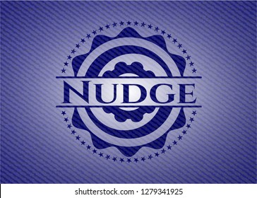 Nudge badge with denim texture