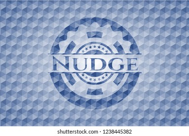 Nudge blue emblem or badge with abstract geometric polygonal pattern background.