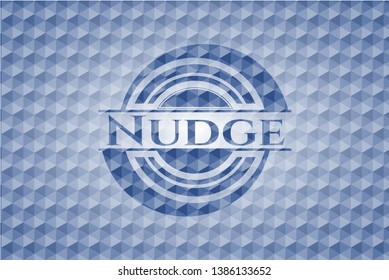 Nudge blue emblem or badge with abstract geometric polygonal pattern background. Vector Illustration. Detailed.