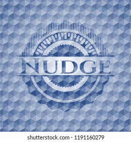 Nudge blue emblem with geometric pattern.