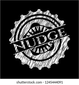 Nudge chalkboard emblem on black board