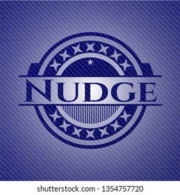 Nudge emblem with jean background