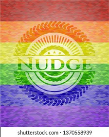 Nudge emblem on mosaic background with the colors of the LGBT flag