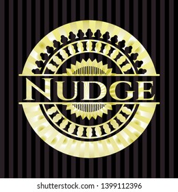 Nudge gold shiny badge. Vector Illustration. Detailed.