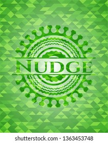 Nudge green emblem with mosaic background
