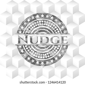 Nudge grey badge with geometric cube white background