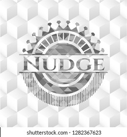 Nudge grey emblem with cube white background