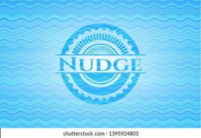 Nudge light blue water wave style emblem. Vector Illustration. Detailed.