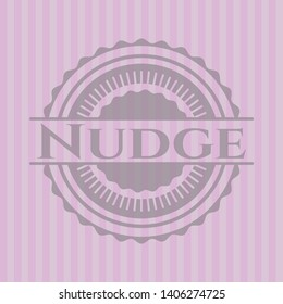 Nudge pink emblem. Vintage. Vector Illustration. Detailed.
