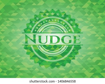 Nudge realistic green emblem. Mosaic background. Vector Illustration. Detailed.