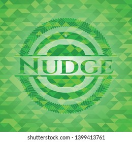 Nudge realistic green mosaic emblem. Vector Illustration. Detailed.