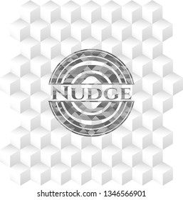 Nudge realistic grey emblem with geometric cube white background