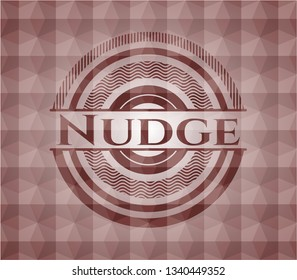 Nudge red emblem with geometric background. Seamless.