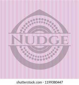 Nudge retro style pink emblem
