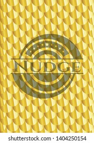 Nudge shiny golden badge. Scales pattern. Vector Illustration. Detailed.