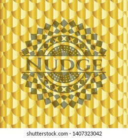 Nudge shiny golden emblem. Scales pattern. Vector Illustration. Detailed.