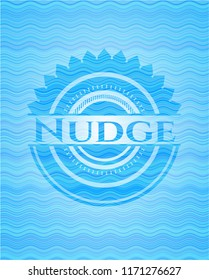 Nudge water wave concept emblem background.