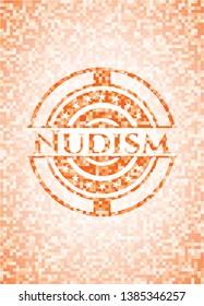 Nudism abstract orange mosaic emblem