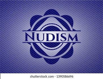 Nudism badge with denim background. Vector Illustration. Detailed.