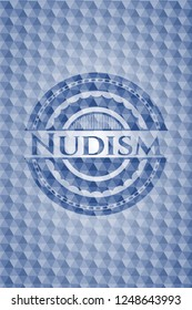 Nudism blue badge with geometric pattern background.