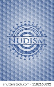 Nudism blue emblem or badge with abstract geometric polygonal pattern background.